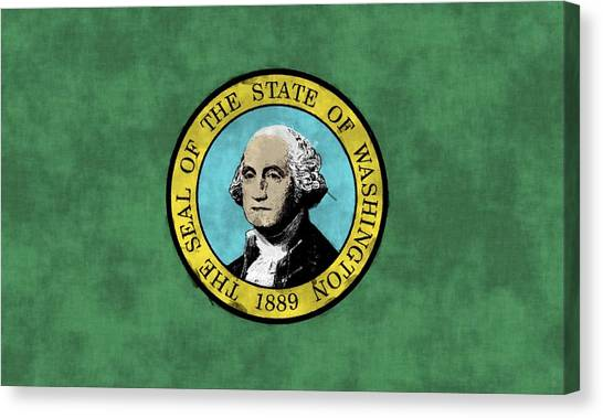 Washington Capitals Canvas Print - Washington State Flag by World Art Prints And Designs