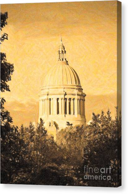 Canvas Print featuring the photograph Washington State Legislative Building In Gold by Susan Parish