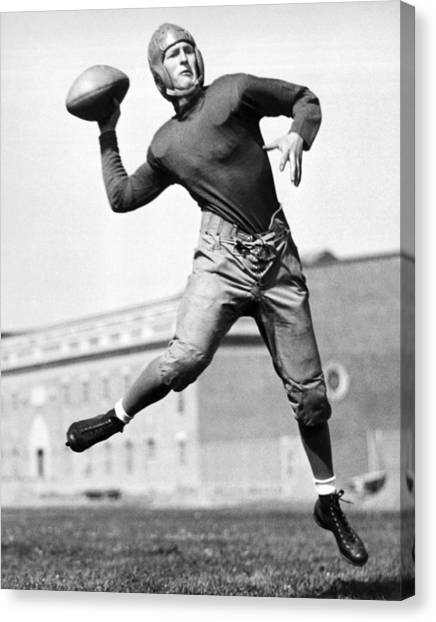 Football Canvas Print - Washington State Quarterback by Underwood Archives
