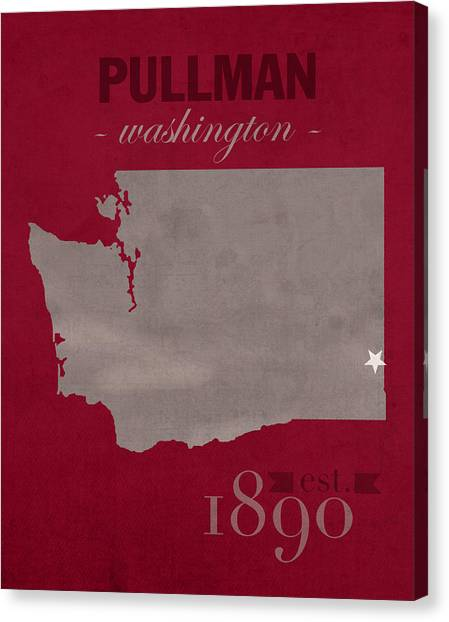 Pac 12 Canvas Print - Washington State University Cougars Pullman College Town State Map Poster Series No 123 by Design Turnpike