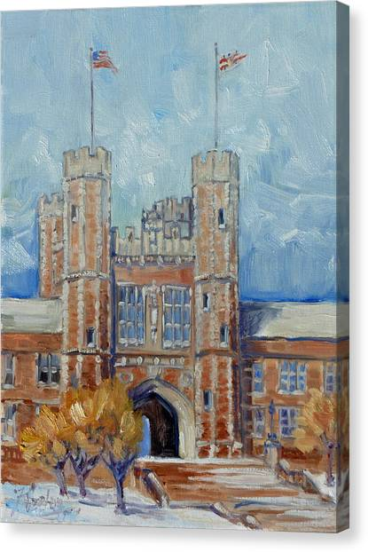 Saint Louis University Canvas Print - Washington University - Winter Morning by Irek Szelag