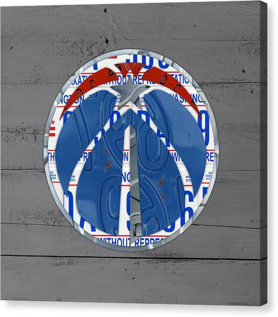Washington Wizards Canvas Print - Washington Wizards Basketball Team Logo Vintage Recycled District Of Columbia License Plate Art by Design Turnpike