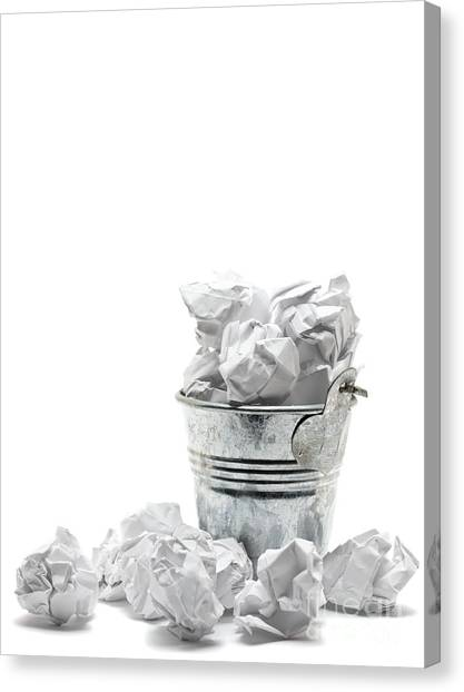 Waste Basket With Crumpled Papers Canvas Print by Shawn Hempel