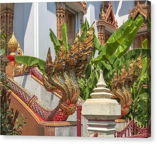 Wat Dokmai Phra Ubosot Stair Naga Dthb1783 Canvas Print