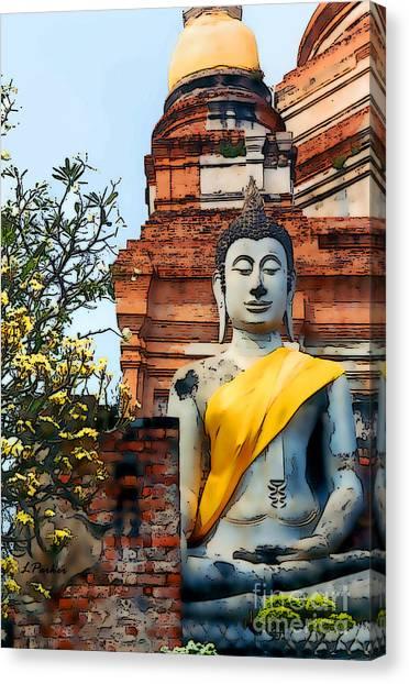 Wat Yai Chai Mongkon Canvas Print by Linda  Parker