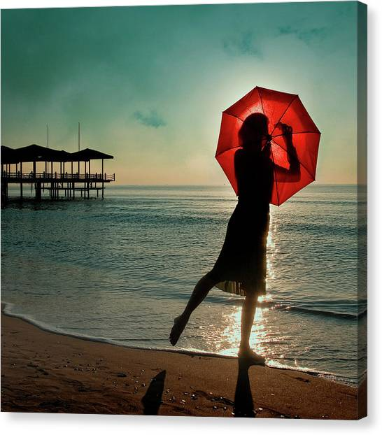 Beach Umbrellas Canvas Print - Watch Her Disappear by Ambra