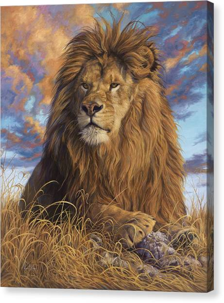 Lions Canvas Print - Watchful Eyes by Lucie Bilodeau