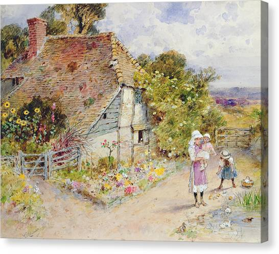 Charming Cottage Canvas Print - Watching The Ducks by William Stephen Coleman