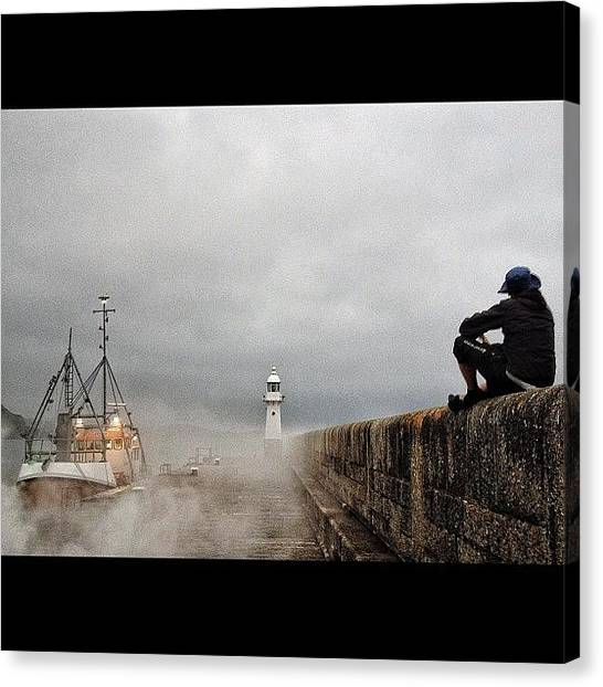 Fishing Boats Canvas Print - Watching The Ships Roll In by Peter Bromfield