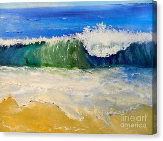 Watching The Wave As Come On The Beach Canvas Print