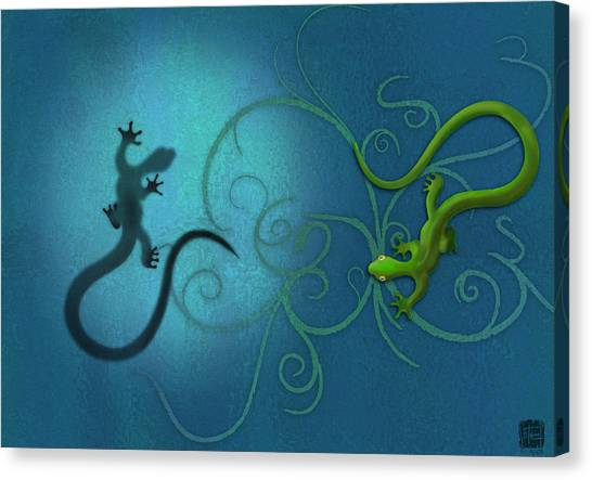 Canvas Print featuring the digital art water colour print of twin geckos and swirls Duality by Sassan Filsoof