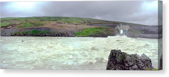 Water Dam For A Hydropower Plant Canvas Print by Birgir Freyr Birgisson
