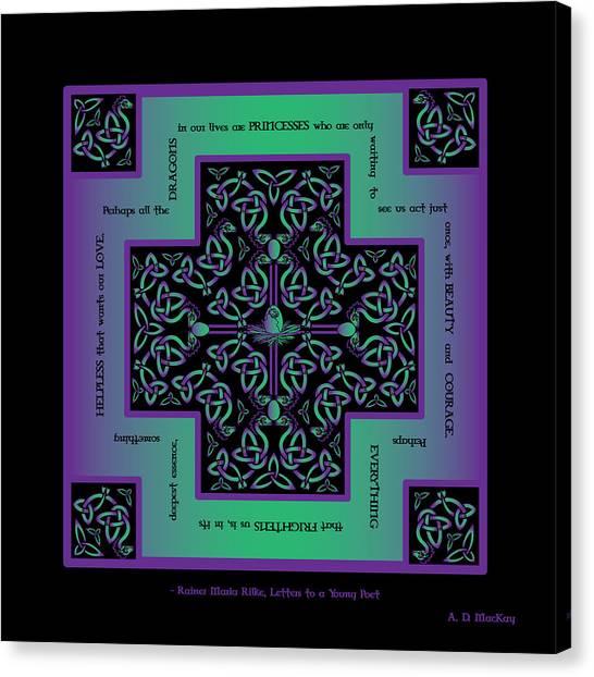 Water Dragon Celtic Cross Canvas Print