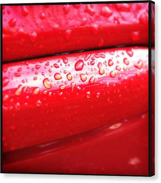 Drinks Canvas Print - Water Drops On Red Car Paint by Matthias Hauser