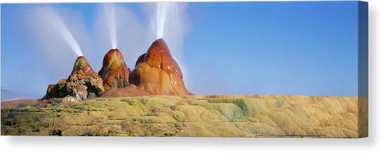 Black Rock Desert Canvas Print - Water Erupting From Rocks, Fly Geyser by Panoramic Images