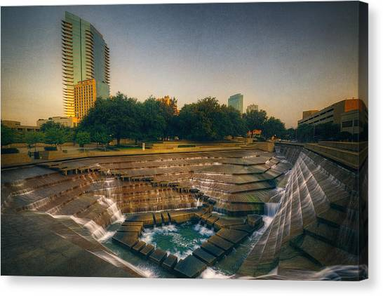 Oasis Canvas Print - Water Gardens Active Pool by Joan Carroll
