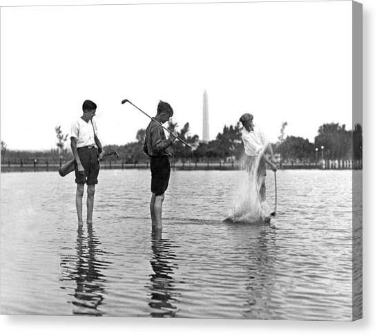 Flooding Canvas Print - Water Hazard On Golf Course by Underwood Archives