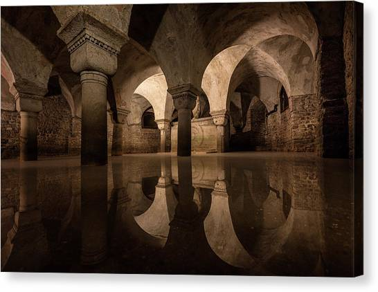Palace Canvas Print - Water In The Crypt by Christopher Budny
