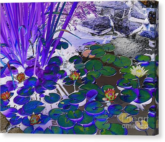 Water Lilies Blue Canvas Print