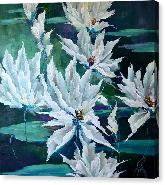 Water Lilies Canvas Print by Steven Nevada