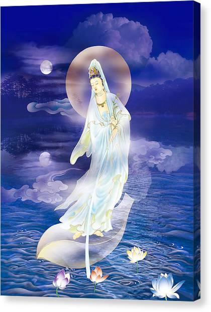 Yin Canvas Print - Water Moon Avalokitesvara  by Lanjee Chee