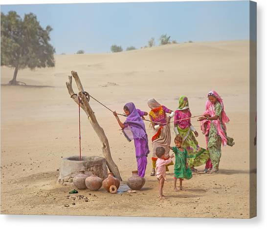 Thar Desert Canvas Print - Water Pullers by Sayyed Nayyer Reza