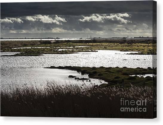 Water Reflection Storm Clouds At Farlington Marshes Wetlands Canvas Print