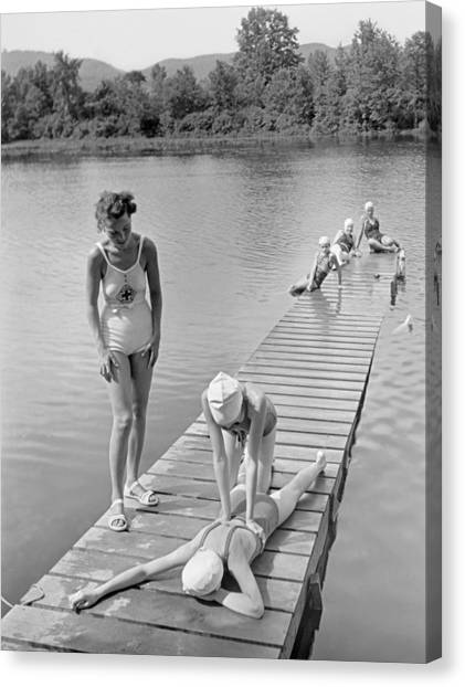 Girl Scouts Canvas Print - Water Safety At Camp Perkins by Underwood Archives