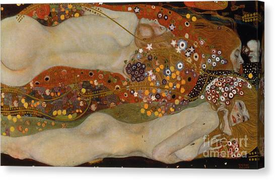 Sexuality Canvas Print - Water Serpents II by Gustav Klimt