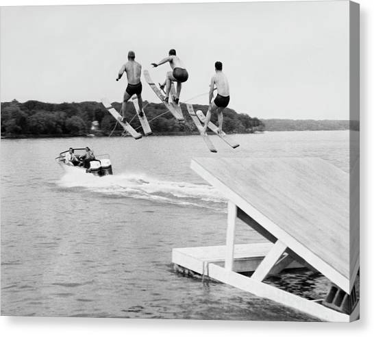 Water Skis Canvas Print - Water Ski Show Jumpers by Underwood Archives
