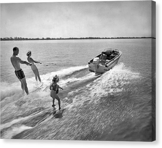 Watersports Canvas Print - Water Skiing At Cypress Garden by Underwood Archives