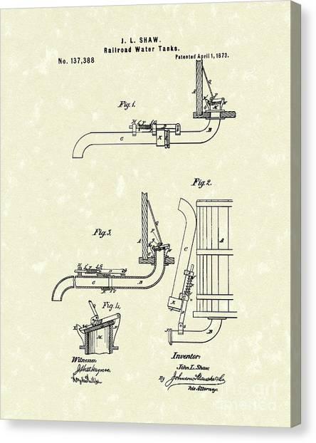 Train Canvas Print - Water Tank 1873 Patent Art by Prior Art Design