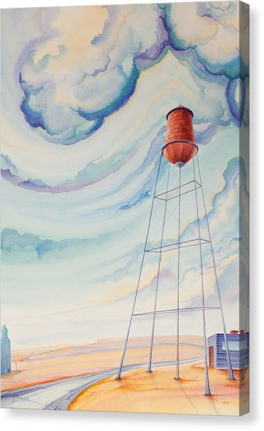 Canvas Print featuring the painting Water Tank I by Scott Kirby