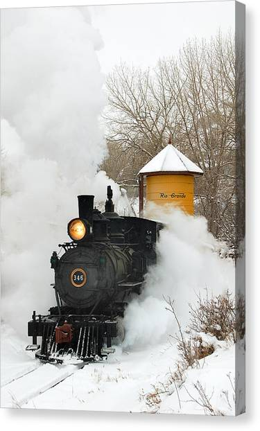 Trains Canvas Print - Water Tower Behind The Steam by Ken Smith