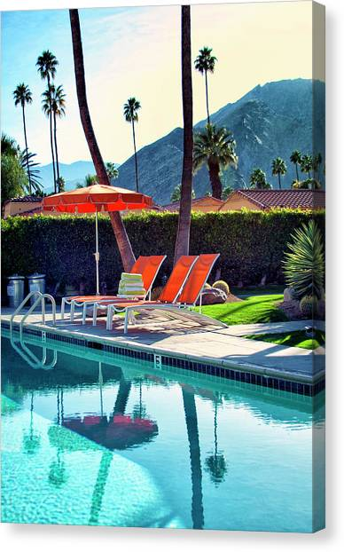 Orange Canvas Print - Water Waiting Palm Springs by William Dey