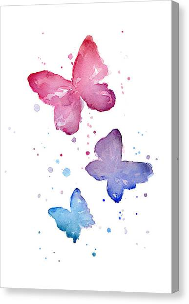 Purple Canvas Print - Watercolor Butterflies by Olga Shvartsur