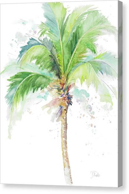 Coconut Canvas Print - Watercolor Coconut Palm by Patricia Pinto