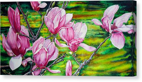 Watercolor Exercise Magnolias Canvas Print