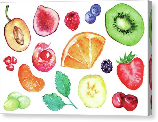 Ingredient Canvas Print - Watercolor Exotic Fruit Berry Slice Set by Silmairel