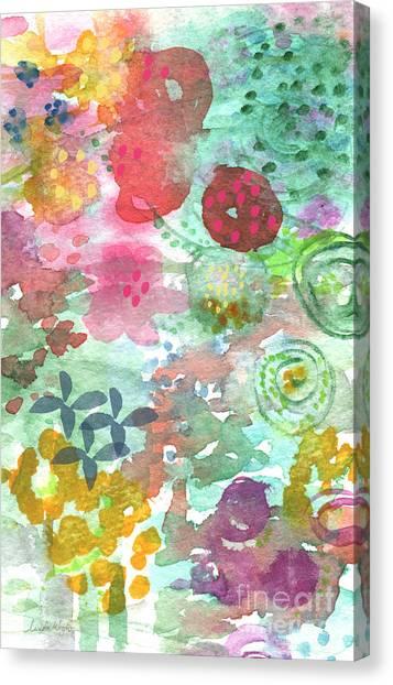 Magenta Canvas Print - Watercolor Garden Blooms by Linda Woods