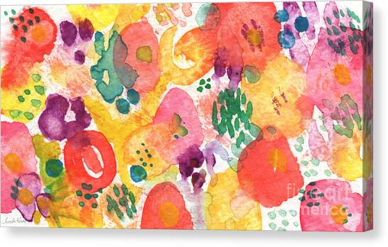 Floral Canvas Print - Watercolor Garden by Linda Woods