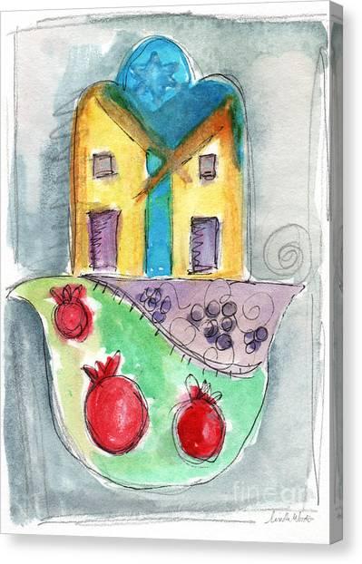 Grapes Canvas Print - Watercolor Hamsa  by Linda Woods