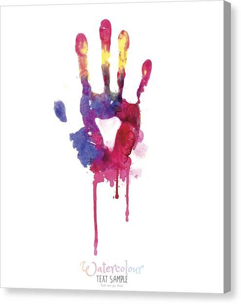 Watercolor Hand Illustration Canvas Print by Vectorig