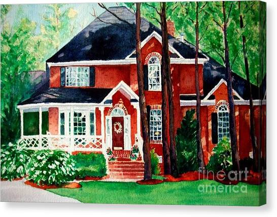Watercolor Home Portrait 1 Canvas Print