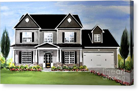 Watercolor Home Portrait 2 Canvas Print