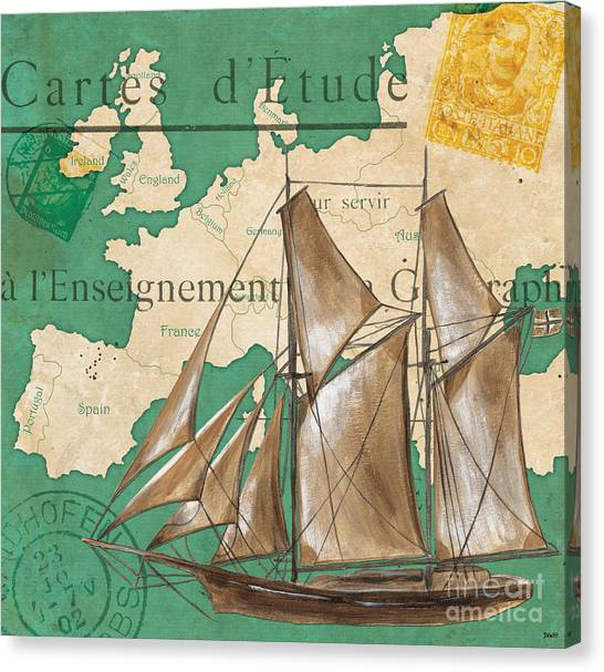 Nautical Decor Canvas Print - Watercolor Map 1 by Debbie DeWitt
