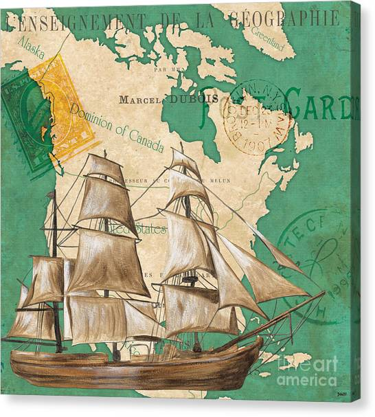 Postcards Canvas Print - Watercolor Map 2 by Debbie DeWitt
