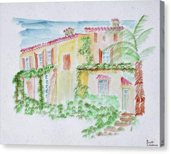 Southern France Canvas Print - Watercolor Of A Typical French Home by Richard Lawrence