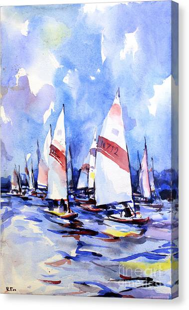 Watercolor Of Scow Boats Racing Torch Lake Mi Canvas Print