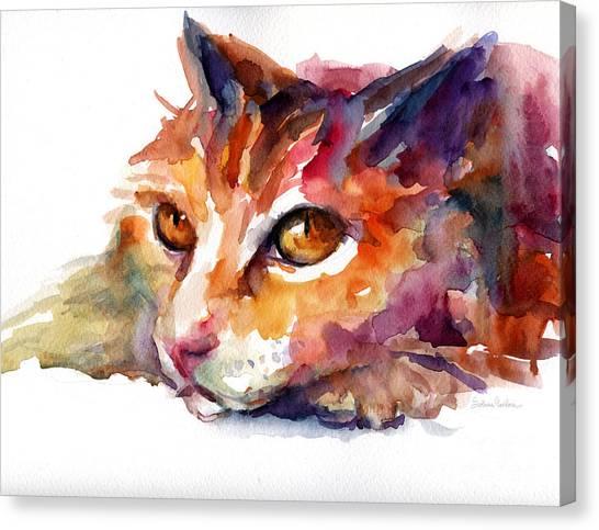 Watercolor Pet Portraits Canvas Print - Watercolor Orange Tubby Cat by Svetlana Novikova